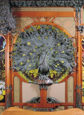 A peacock, from the central panel of a mural from the Fouquet jewellers in Paris, 1901 (bronze & wood) Wall Art & Canvas Prints by Alphonse Marie Mucha
