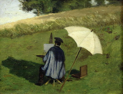 Desire Dubois Painting in the Open Air, c.1852 (oil on canvas) Fine Art Print by Henri Joseph Constant Dutilleux