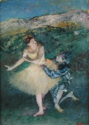 Harlequin and Colombine, c.1886-90 (oil on panel) Wall Art & Canvas Prints by Edgar Degas