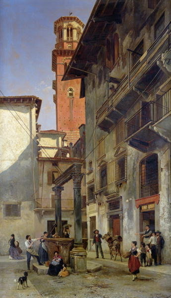 Via Mazzanti, Verona, 1880 (oil on canvas) Wall Art & Canvas Prints by Jacques Carabain