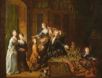 Portrait of Nicolas de Launay (1646-1727) and his Family (oil on canvas) Fine Art Print by Robert Tournieres