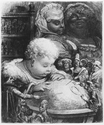 Education of Gargantua, illustration from 'Gargantua' by Francois Rabelais (1494-1553) engraved by Paul Jonnard-Pacel (d.1902) (engraving) (b/w photo) Fine Art Print by Gustave Dore