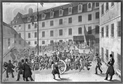 Arrival of the convicts at Bicetre (wash on paper) (b/w photo) Wall Art & Canvas Prints by Gabriel Cloquemin