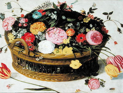 Basket of Flowers (oil on panel) Fine Art Print by Jan Brueghel