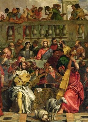 The Marriage Feast at Cana, detail of Christ and musicians, c.1562 Fine Art Print by Veronese