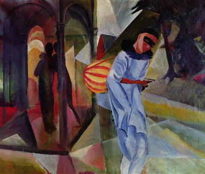Pierrot, 1913 (oil on canvas) Postcards, Greetings Cards, Art Prints, Canvas, Framed Pictures, T-shirts & Wall Art by August Macke