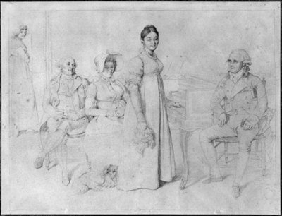 The Forestier Family (graphite on paper) (b/w photo) (see also 233241) Fine Art Print by Jean Auguste Dominique Ingres