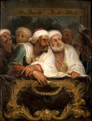 The Moroccan Ambassador and his Entourage at the Italian Comedy in Paris in February 1682, c.1682 Fine Art Print by Antoine Coypel