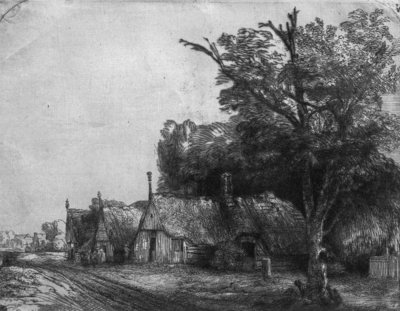 Landscape with Three Cottages, 1650 (etching) (b/w photo) Wall Art & Canvas Prints by Rembrandt Harmensz. van Rijn