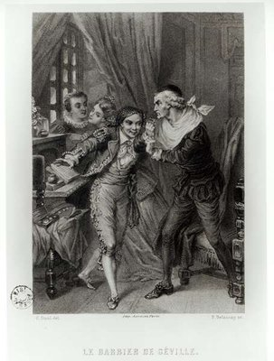 Figaro, illustration from Act III Scene 12 of 'The Barber of Seville' by Pierre Augustin Caron de Beaumarchais (1732-99) engraved by Ferdinand Delanoy (fl.1850) 1874 (engraving) (b/w photo) Fine Art Print by Pierre Gustave Eugene Staal