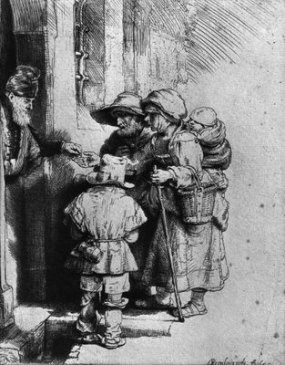 Beggars on the Doorstep of a House, 1648 (etching) (b/w photo) Postcards, Greetings Cards, Art Prints, Canvas, Framed Pictures, T-shirts & Wall Art by Rembrandt Harmensz. van Rijn