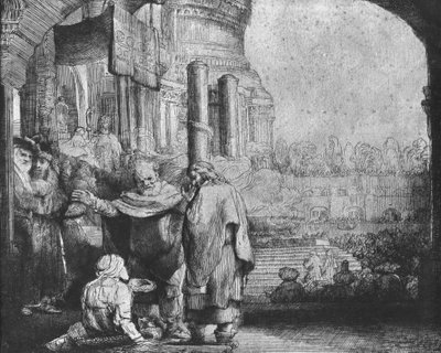 St. Peter and St. John at the Entrance to the Temple, 1649 (etching) (b/w photo) Fine Art Print by Rembrandt Harmensz. van Rijn
