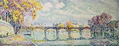 The Pont des Arts, 1928 (oil on canvas) Postcards, Greetings Cards, Art Prints, Canvas, Framed Pictures, T-shirts & Wall Art by Paul Signac