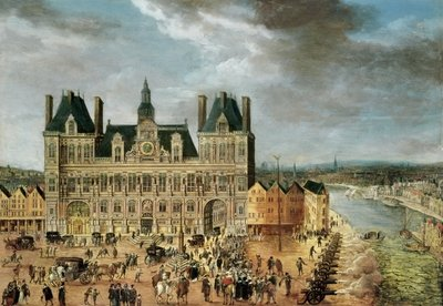 The Hotel de Ville, Place de Greve Fine Art Print by Flemish School