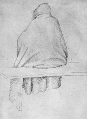 Monk seated on a bench, seen from behind, from the The Vallardi Album Fine Art Print by Antonio Pisanello