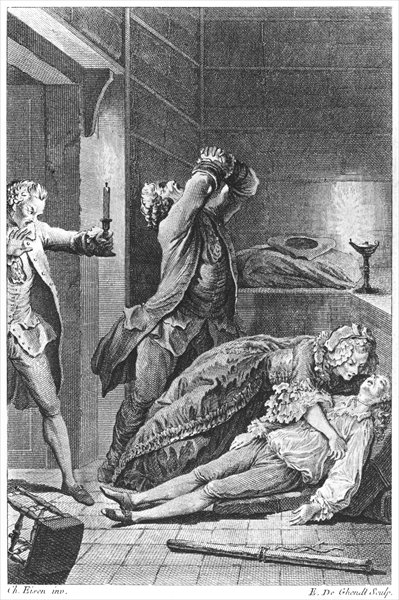 Jean Calas (1698-1762) discovering his dead son (engraving) by Emmanuel Jean Nepomucene de Ghendt (1738-1815) (b/w photo) Fine Art Print by Charles Joseph Dominique Eisen