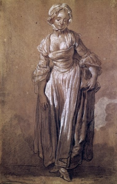 Standing Young Girl, study for 'The Village Agreement' Fine Art Print by Jean Baptiste Greuze