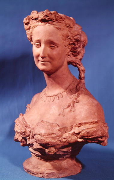 Bust of Eugenie-Marie de Montijo de Guzman (1826-1920) Countess of Teba (terracotta) Fine Art Print by Jean-Baptiste Carpeaux