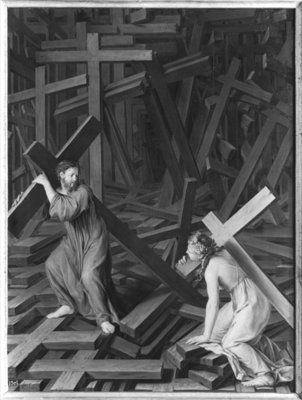 The Christian Soul Accepting her Cross (b/w photo) Fine Art Print by French School