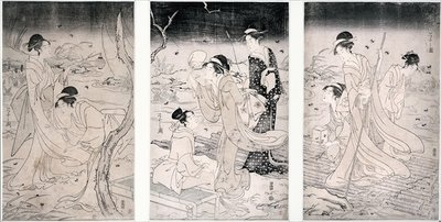 Hunting fireflies at nightfall, 1796-97 (woodblock print) Wall Art & Canvas Prints by Hosoda Eishi