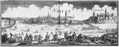 The Russian army besieging Narva in 1700 (engraving) (b/w photo) Wall Art & Canvas Prints by French School