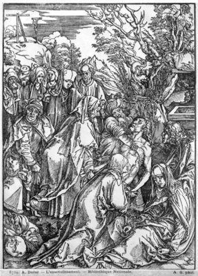 The entombment of Christ, from 'The Great Passion' series, 1497-1500 (woodcut) (b/w photo) Wall Art & Canvas Prints by Albrecht Dürer or Duerer