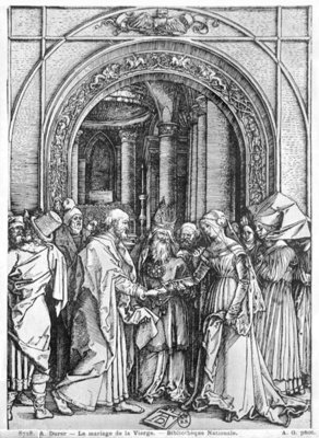 The marriage of the Virgin, from the 'Life of the Virgin' series, c.1504-05 (woodcut) (b/w photo) Postcards, Greetings Cards, Art Prints, Canvas, Framed Pictures, T-shirts & Wall Art by Albrecht Dürer or Duerer
