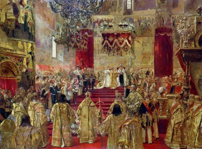 Study for the Coronation of Tsar Nicholas II (1868-1918) and Tsarina Alexandra (1872-1918) at the Church of the Assumption, Moscow, 14th may 1896 (oil on canvas) Postcards, Greetings Cards, Art Prints, Canvas, Framed Pictures, T-shirts & Wall Art by Henri Gervex