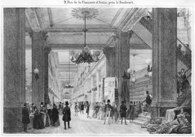 Fabric Shop, 9 rue de la Chaussee d'Antin (engraving) (b/w photo) Fine Art Print by French School