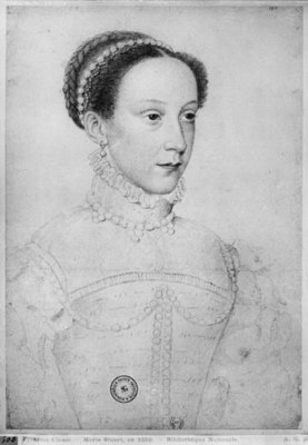 Mary Queen of Scots, 1559 (pencil on paper) (b/w photo) Fine Art Print by Francois Clouet