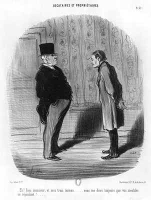 'Well, Sir, what about my three terms?', plate 31 from the series 'Tenants and owners', 1848 (litho) (b/w photo) Fine Art Print by Honore Daumier