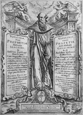 Joachim of Flora, illustration from 'Vaticinia Sive Prophetiae Abbatis Ioachimi', 1589 (engraving) (b/w photo) Fine Art Print by Italian School