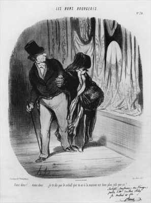 Series 'Les Bons Bourgeois', Come along, I am telling you the scarf you have at home is much more beautiful, plate 70, illustration from the 'Album Les Bons Bourgeois', 1847 (litho) (b/w photo) Wall Art & Canvas Prints by Honore Daumier