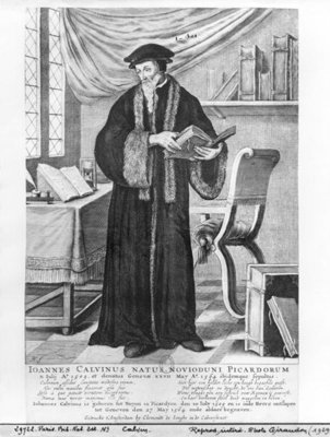 John Calvin (engraving) (b/w photo) Postcards, Greetings Cards, Art Prints, Canvas, Framed Pictures, T-shirts & Wall Art by Clement de Jonghe