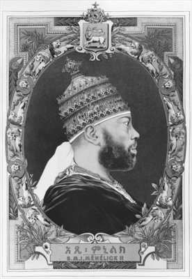 Negus of Ethiopia, Menelik II (1844-1913) (litho) (b/w photo) Wall Art & Canvas Prints by French School