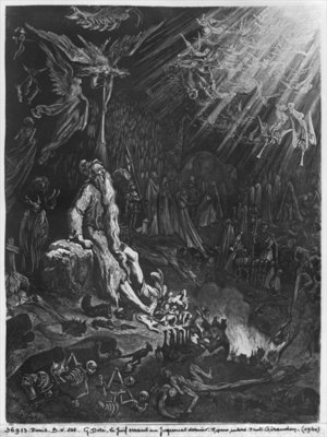 The Wandering Jew and the Last Judgement, engraved by Felix Jean Gauchard (1825-72) (engraving) (b/w photo) Wall Art & Canvas Prints by Gustave Dore