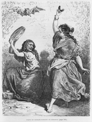 Gitana from Granada dancing the zorongo (engraving) (b/w photo) Wall Art & Canvas Prints by Gustave Dore