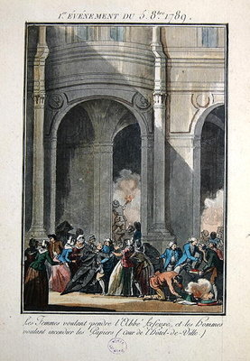Events of the 5th of October 1789: The Women want to hang the Priest Lefevre (coloured engraving) Wall Art & Canvas Prints by Jean-Francois Janinet
