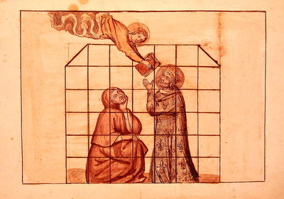 Ms 1779 fol.76v St. Louis imprisoned, from 'Memoires pour la vie de saint Louis', compiled by Nicolas Claude Fabri de Peiresc Poster Art Print by French School
