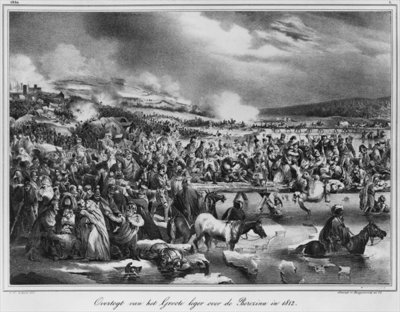 Crossing the Berezina on November 1812, engraved by Desguerrois (19th century) (litho) (b/w photo) Wall Art & Canvas Prints by Carel Christian Anthony Last