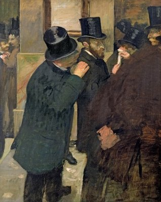 At the Stock Exchange, c.1878-79 (oil on canvas) Fine Art Print by Edgar Degas