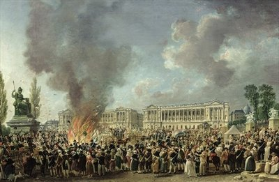 The Celebration of Unity, Destroying the Emblems of Monarchy, Place de la Concorde, 10th August 1793 (oil on canvas) Postcards, Greetings Cards, Art Prints, Canvas, Framed Pictures, T-shirts & Wall Art by Pierre-Antoine Demachy