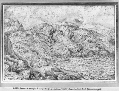 Alpine landscape, 1553 (pen & ink on paper) Fine Art Print by Pieter the Elder Bruegel