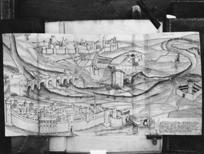 The city and the village of Carcassonne, 1462 (pen & ink on paper) (b/w photo) Wall Art & Canvas Prints by French School