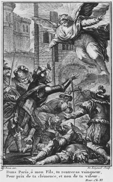 Siege of Paris, apparition of St. Louis (1214-70) to Henri IV (1553-1610) engraved by Joseph de Longueil(1730-92) illustration from 'La Henriade' by Voltaire (1694-1778) (engraving) (b/w photo) Fine Art Print by Charles Joseph Dominique Eisen