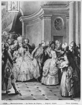 Coming out of the Opera, engraved by Georges Malbeste or Malbete (1743-1809) (engraving) (b/w photo) Fine Art Print by Jean Michel the Younger Moreau