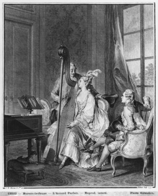 The perfect chord, engraved by Isidore Stanislas Helman (1749-1809) 1777 (engraving) (b/w photo) Postcards, Greetings Cards, Art Prints, Canvas, Framed Pictures, T-shirts & Wall Art by Jean Michel the Younger Moreau