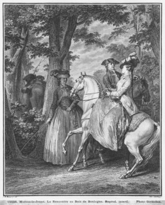 The meeting at the Bois de Boulogne, engraved by Heinrich Guttenberg (1749-1818) c.1777 (engraving) (b/w photo) Postcards, Greetings Cards, Art Prints, Canvas, Framed Pictures, T-shirts & Wall Art by Jean Michel the Younger Moreau