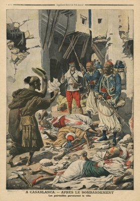 Casablanca after the bombing, illustration from 'Le Petit Journal', supplement illustre, 25th August 1907 (colour litho) Wall Art & Canvas Prints by French School
