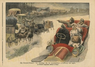 At the Grand Palais, history of locomotion throughout the ages, illustration from 'Le Petit Journal', supplement illustre, 22nd December 1907 (colour litho) Postcards, Greetings Cards, Art Prints, Canvas, Framed Pictures, T-shirts & Wall Art by French School